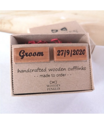 Ξύλινα Μανικετόκουμπα Groom Cufflinks